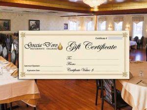 Goccia D'Oro Restaurant - Gift Certificate